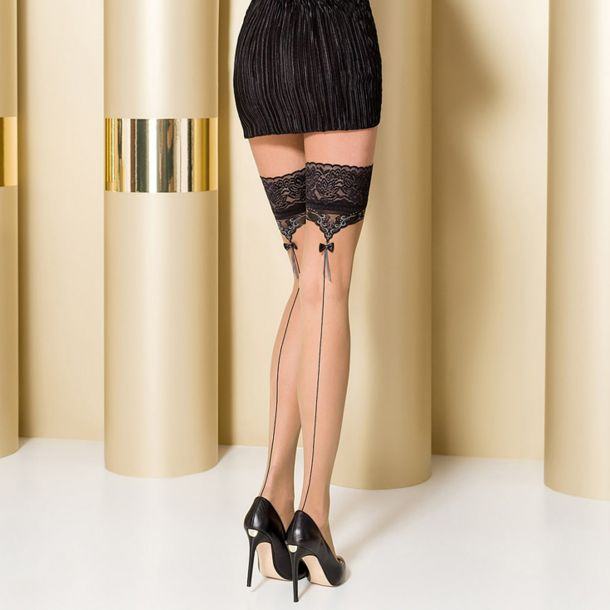 Hold Up Seamed Stockings ST105 - Nude/Black/Grey*