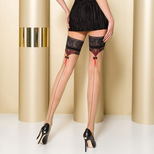 Hold Up Seamed Stockings ST105 - Nude/Black/Red*