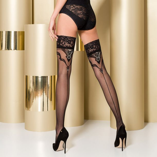 Hold-Up Seamed Stockings ST108 - Black/Golden*