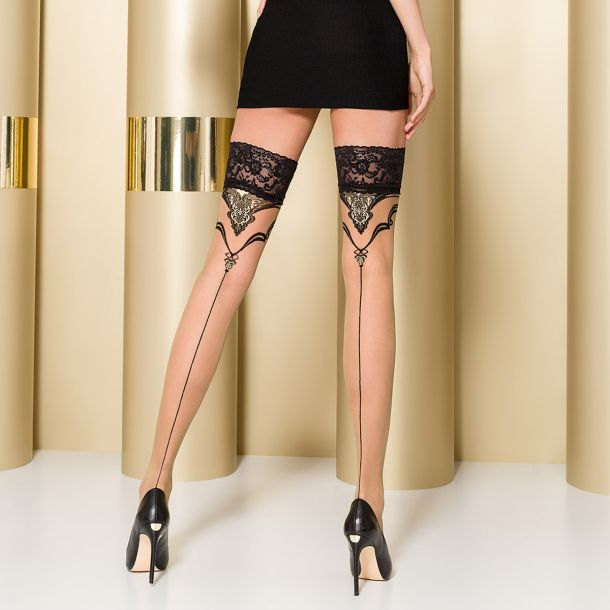 Hold-Up Seamed Stockings ST109 - Nude/Black*