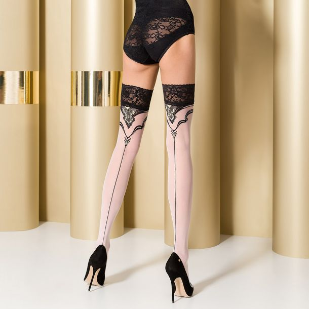 Hold-Up Seamed Stockings ST109 - White/Black*