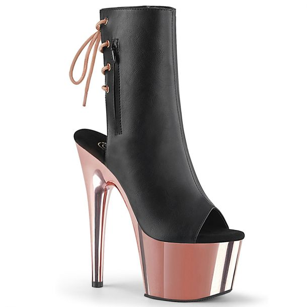 Patform ankle boots ADORE-1018 - Black/Rose Gold