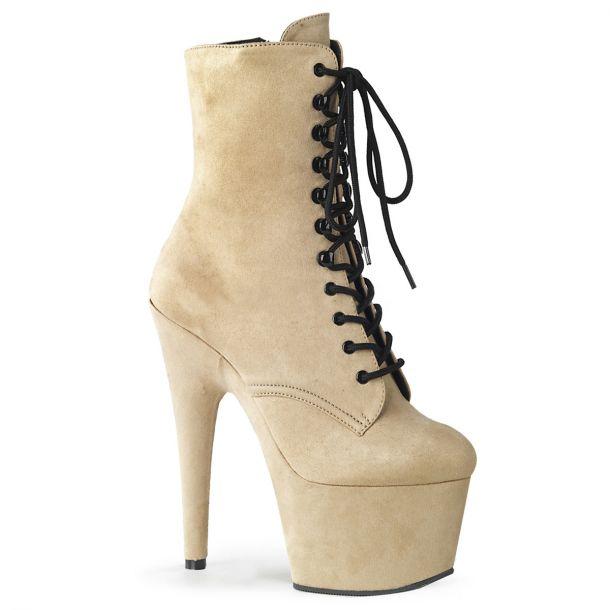 Faux Suede Platform Ankle Boot ADORE-1020FS - Beige