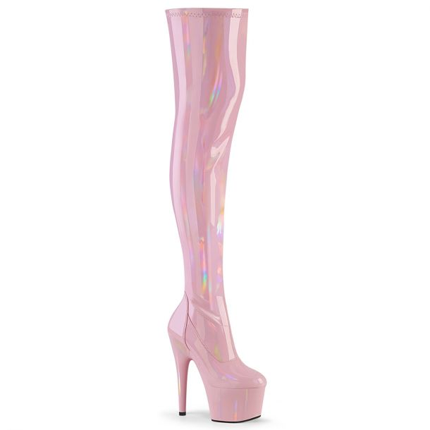Plateau Overknee Stiefel ADORE-3000HWR - Lack Baby Pink / Hologramm