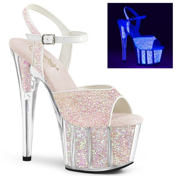 Platform High Heels ADORE-710UVG - Glitter/Neon Opal