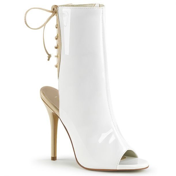 Stiletto Ankle Boots AMUSE-1018 - Patent White
