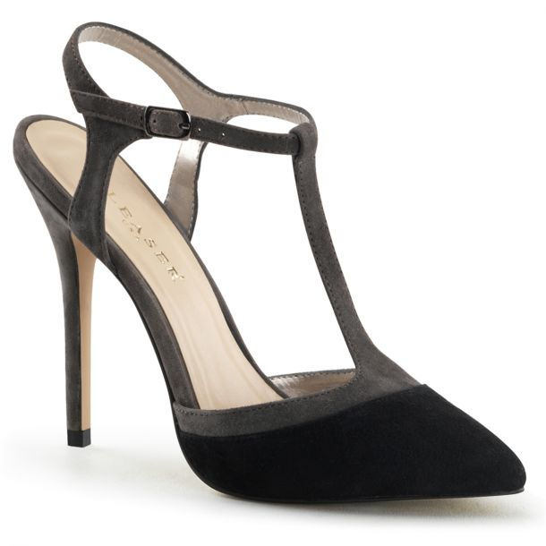Sling Pumps AMUSE-17 - Suede Black / Grey