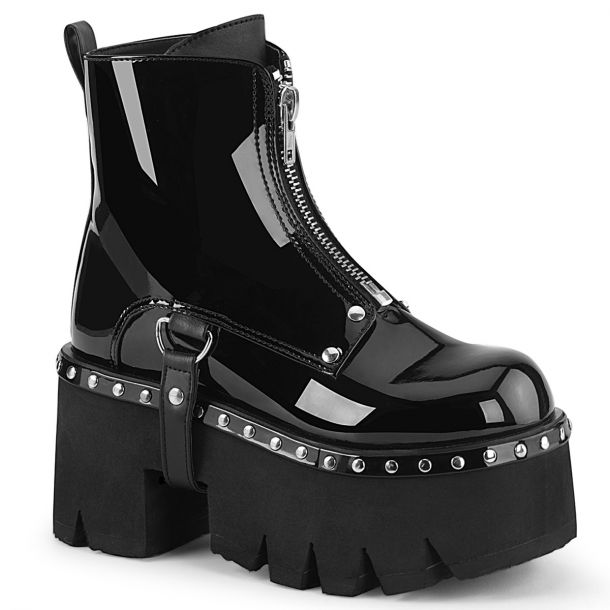 Gothic Ankle Boots ASHES-100 - Patent Black*