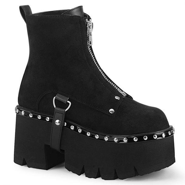 Gothic Ankle Boots ASHES-100 - Faux Suede Black