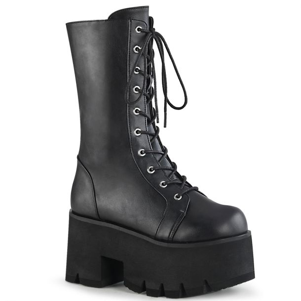 Gothic Boots (Vegan) ASHES-105 - Faux Leather Black