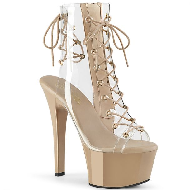 Platform Ankle Boots ASPIRE-600-30 - Clear/Nude