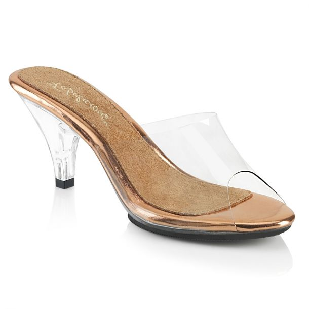 Mules BELLE-301 - Clear/Rose Gold