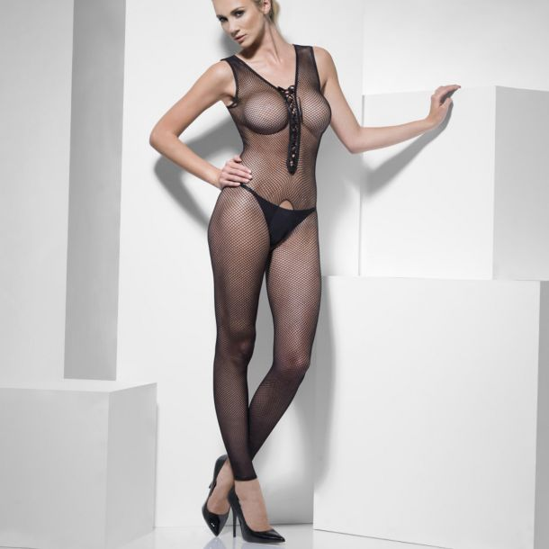 Bodystocking crotchless with Lace up - Black*