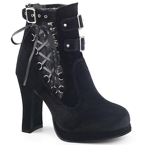 Gothic Women Booties CRYPTO-51 - Velvet Black