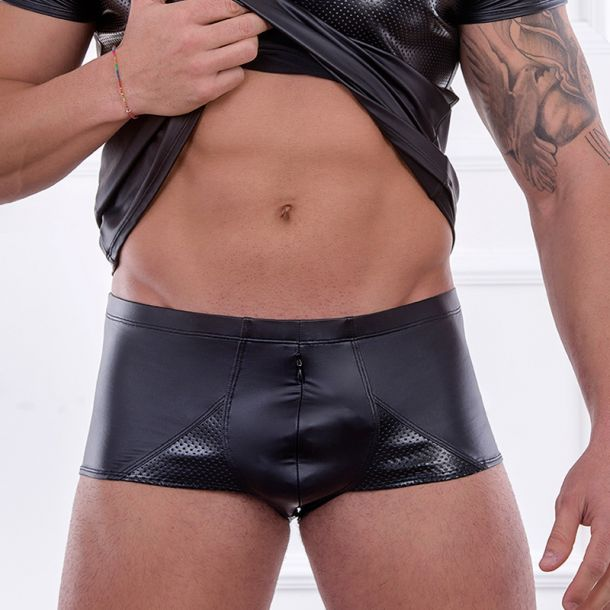 Wet Look Boxer Shorts DAVID - Black