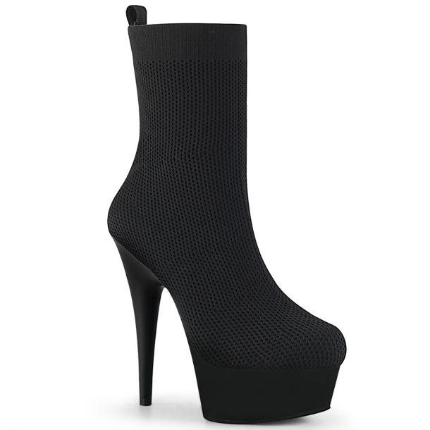 Plateau Sock Boots DELIGHT-1002 - Stretch Schwarz*