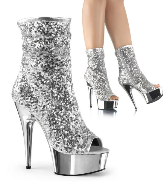 Sequin Ankle Boots DELIGHT-1008SQ - Silver