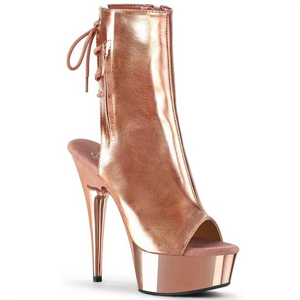 Platform ankle boots DELIGHT-1018 - Rose Golden Metallic