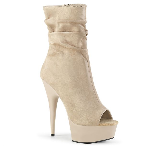 Open Toe Ankle Boots DELIGHT-1031 - Beige