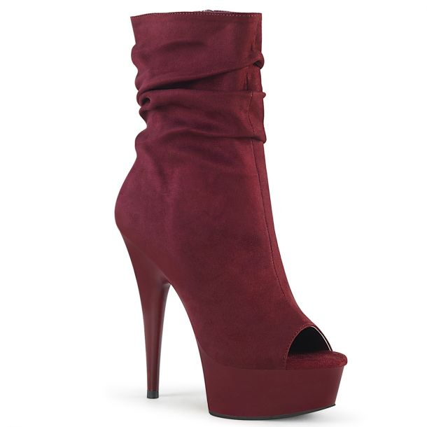 Open Toe Ankle Boots DELIGHT-1031 - Burgundy