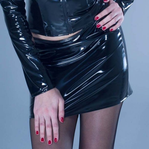 Vinyl Mini Skirt DEMON - Black