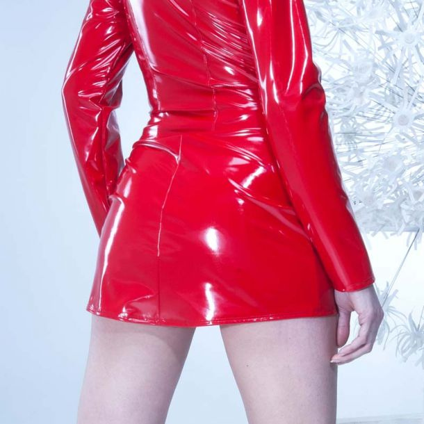 Vinyl Mini Skirt DEMON - Red