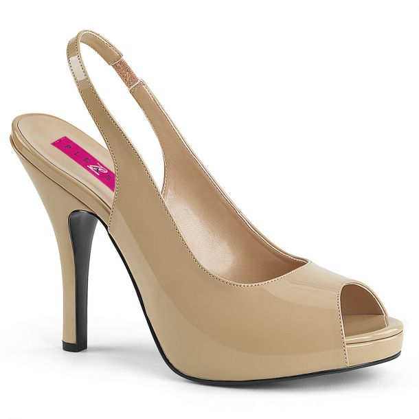 Peep Toes Sling Pumps EVE-04 - Patent Cream