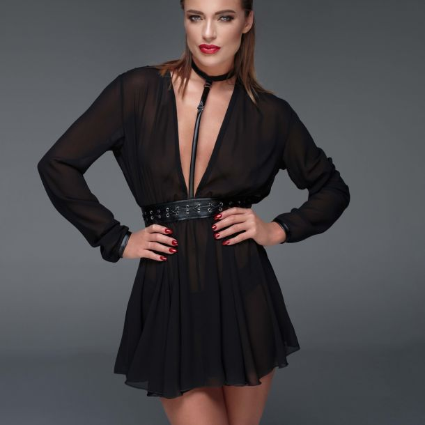 Chiffon Mini Dress F150 - Black