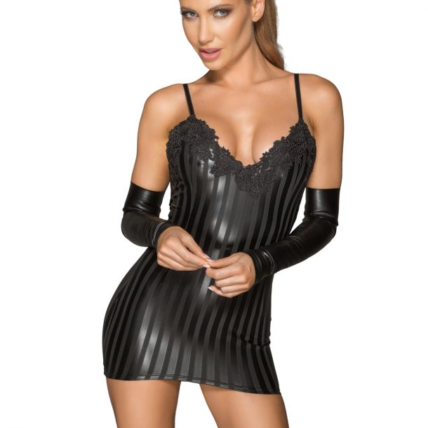 Striped Power Wet Look Straps Mini Dress F208*