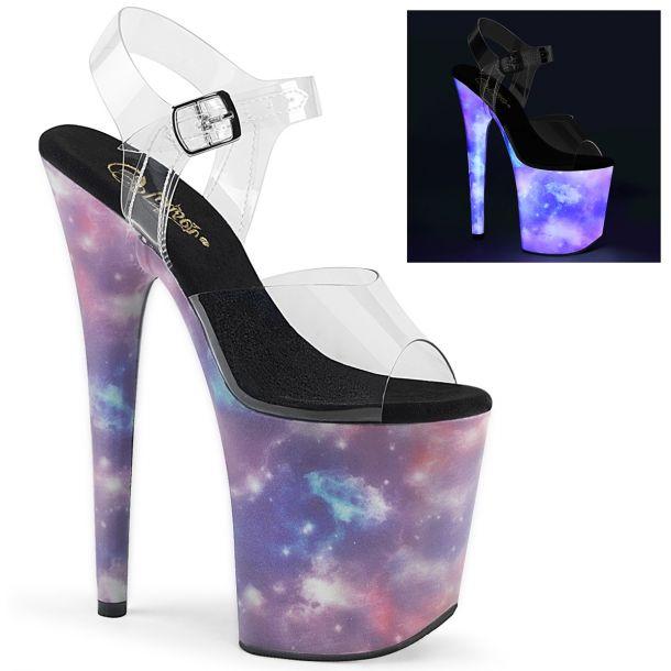 Extreme Platform Heels FLAMINGO-808REFL - Galaxy Clear