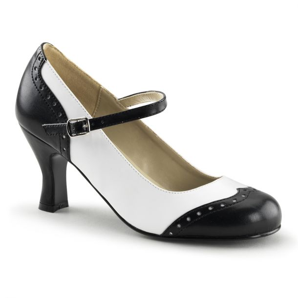 Retro Pumps FLAPPER-25 - Black/White