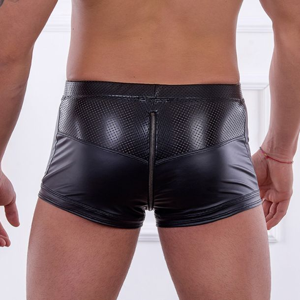 Wet Look Boxer Shorts FLORENT - Black
