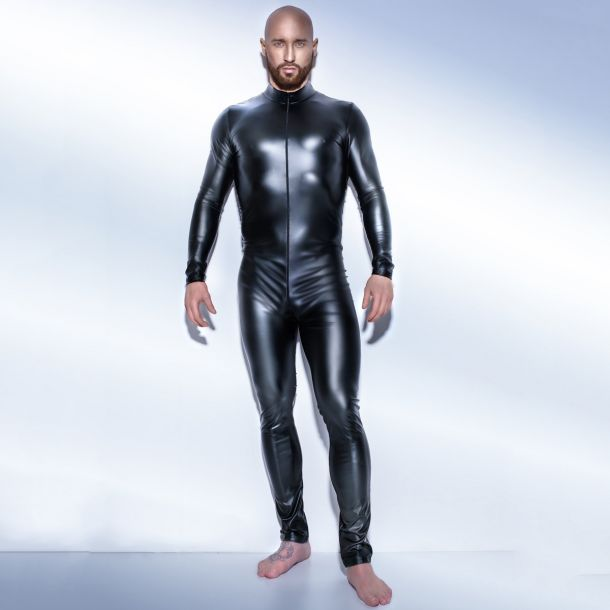 Mens Wetlook Catsuit H043 - Black