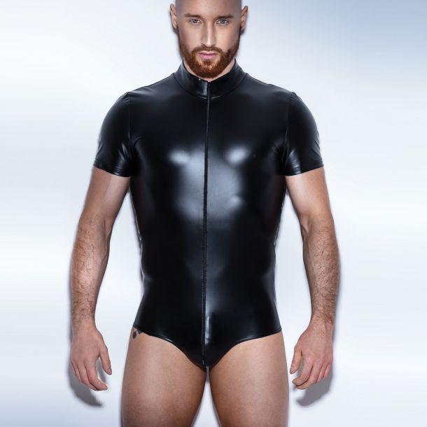 Mens Wetlook Bodysuit H045 - Black
