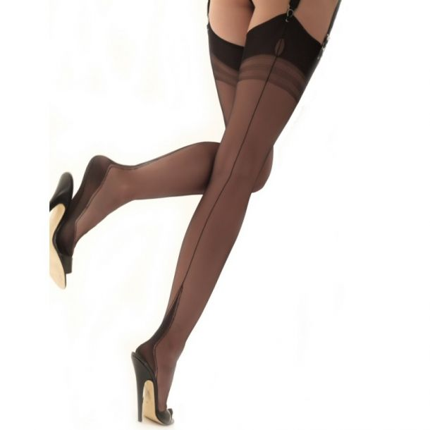 Harmony Point Heel Seamed Nylons - Black*
