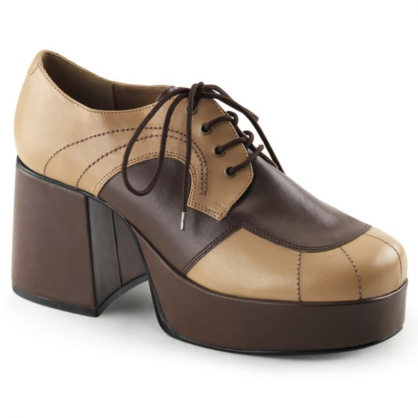 Men Platform Shoes JAZZ-06 - PU Tan/Brown