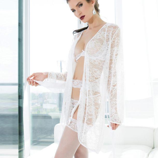 Lace Kimono - White