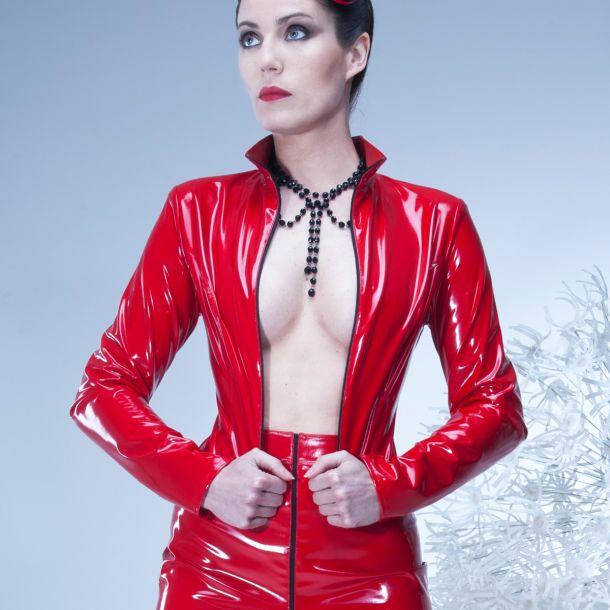 LIVINIA Vinyl Jacket - Red*