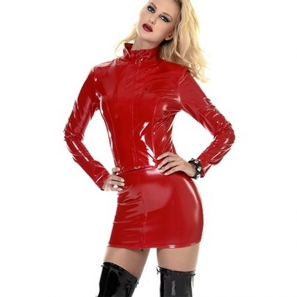 Vinyl Mini Skirt LIVINIA - Red*