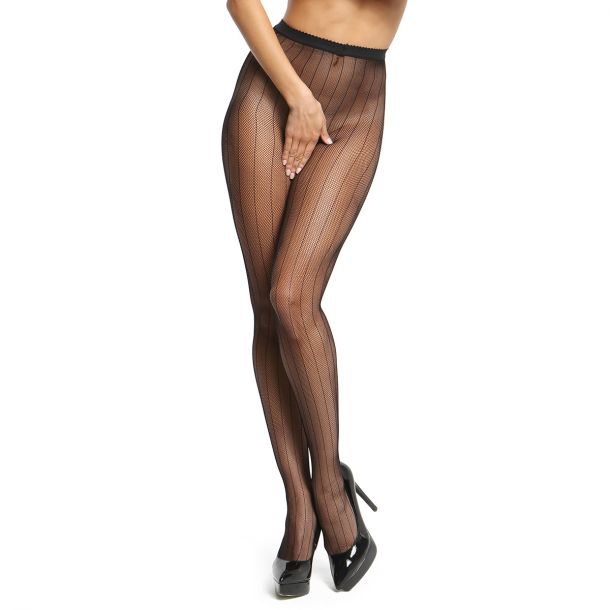 Crotchless Fishnet Tights P615 with design - Black*