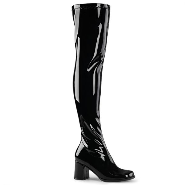 Overknee Boots GOGO-3000 - Patent Black