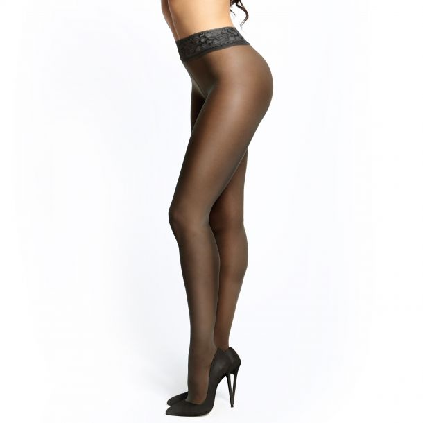 Crotchless Tights P101 With Lace - Black*