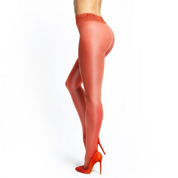 Crotchless Tights P101 With Lace - Red*