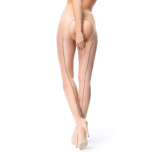 Crotchless Seam Tights P211 - Beige*