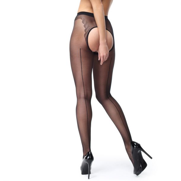 Crotchless Seam Tights P211 - Black*