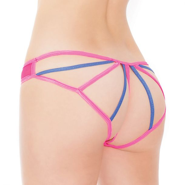 Panty with open back - Neon Pink/Blue*