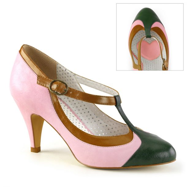 Retro T-Strap Pumps PEACH-03 - Rose