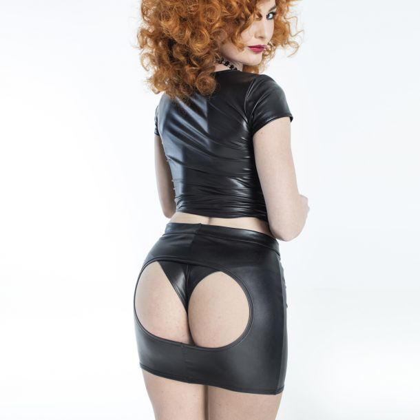Buttless Wetlook Mini Skirt ANDREA*