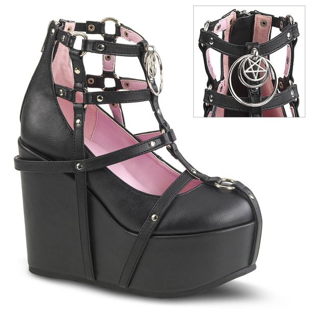 Gothic Platform Wedges  POISON-25-1 - Black Faux Leather