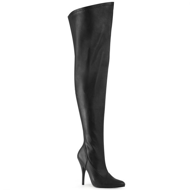 Overknee Boots SEDUCE-3000WC (Wide Shaft) - Faux Leather Black